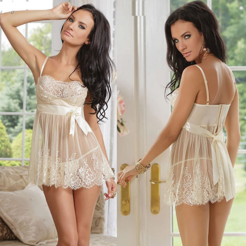 Mesh Lace See-through Baybydoll Lingerie - Ashlays - 1