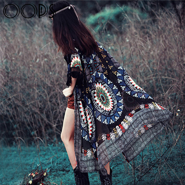 Gypsy Ethnic Style Retro Fringes Tassel Long  Kimono Cover Up - Ashlays - 1