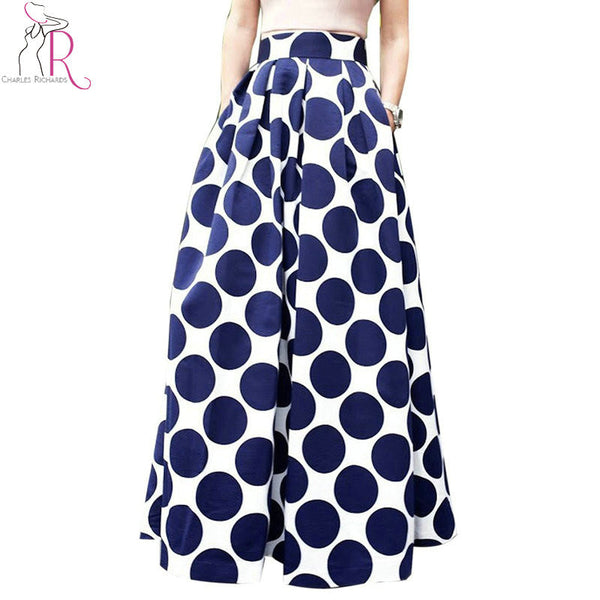 Navy Blue High Waist Polka Dots Print Maxi Skirt - Ashlays - 1