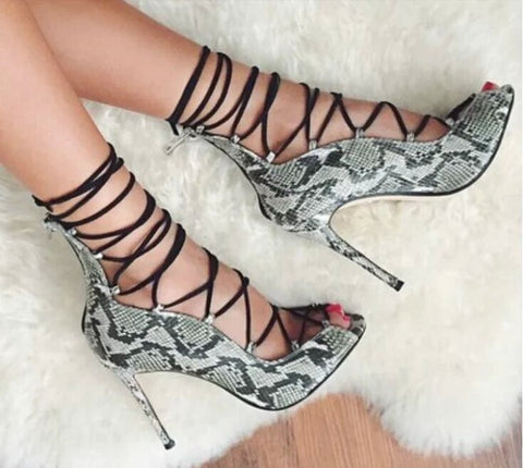 High Heel Lace-up Snakeskin Ankle Sandal