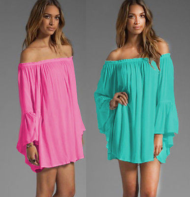 Sexy Off Shoulder Ruffle Sleeve Cover Ups - Ashlays