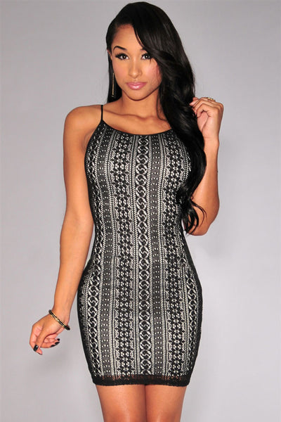 Off-White Nude Illusion Crochet Mini Dress - Ashlays - 2