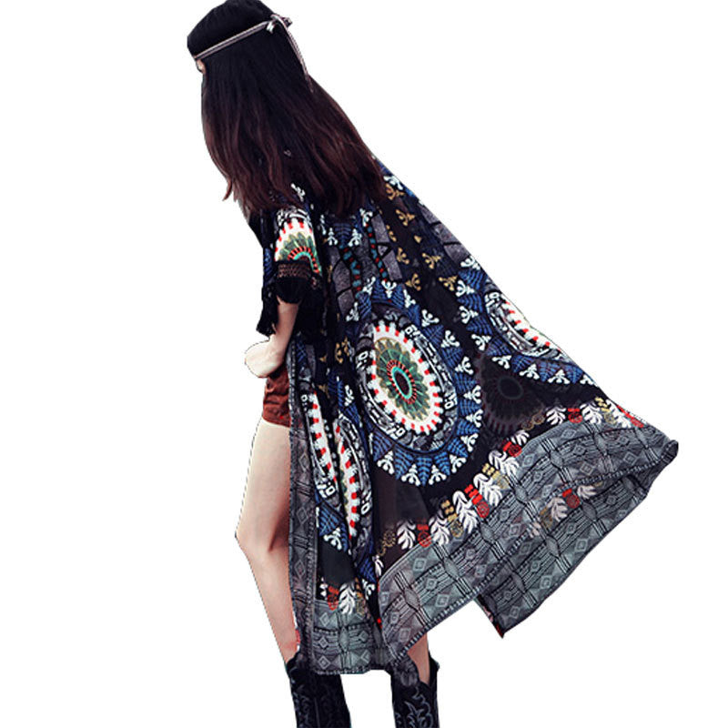 Gypsy Ethnic Style Retro Fringes Tassel Long  Kimono Cover Up - Ashlays - 2