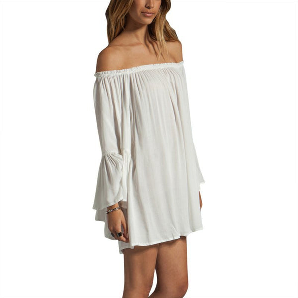 Loose Chiffon Off Shoulder Mini Dress