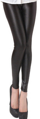 Elastic Waist Leather Leggings - Ashlays - 2