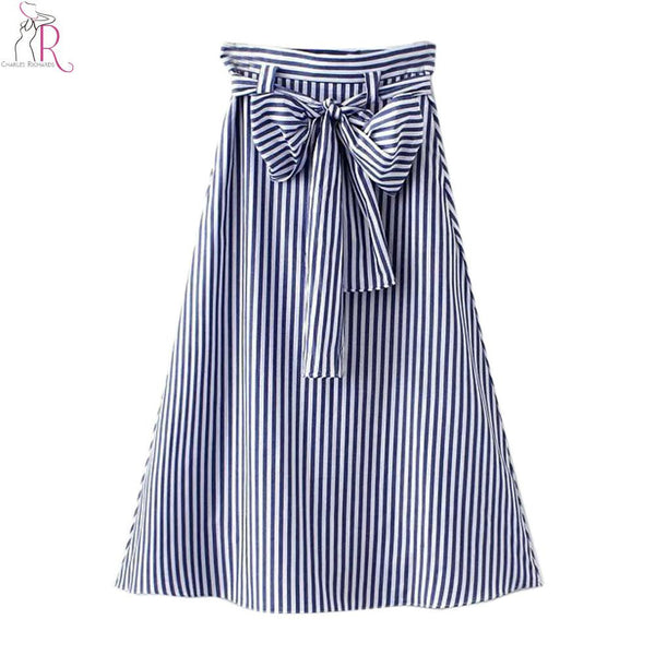 Blue Striped Bowknot High Waist Midi Skater Skirt - Ashlays - 2