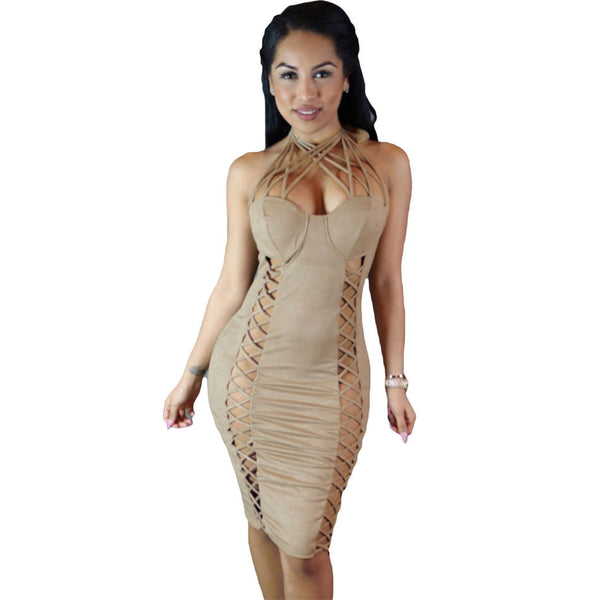 Nude Suede Lace Up Cross Front Halter Dress - Ashlays - 2