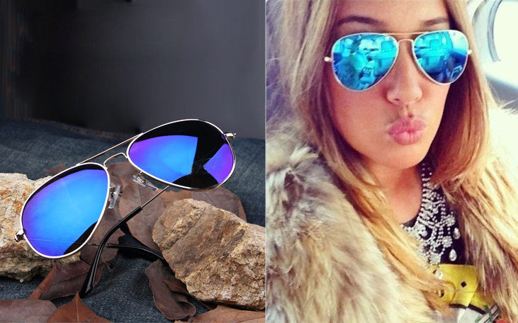 Full Blue Mirrored Aviator Sunglasses - Ashlays