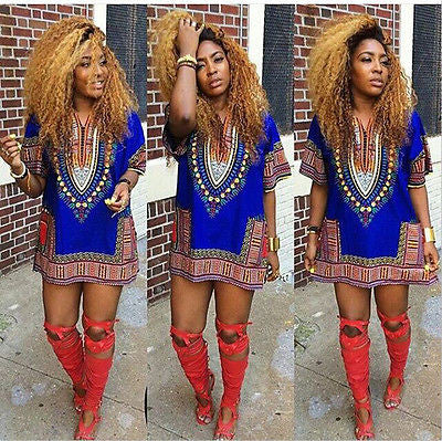 Traditional African Print Dashiki Bodycon Dress - Ashlays