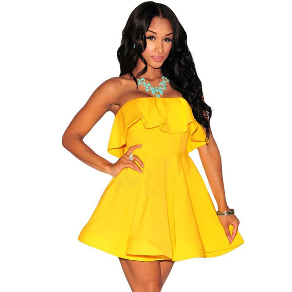 Yellow Strapless Ruffles Flare Skater Dress - Ashlays - 1