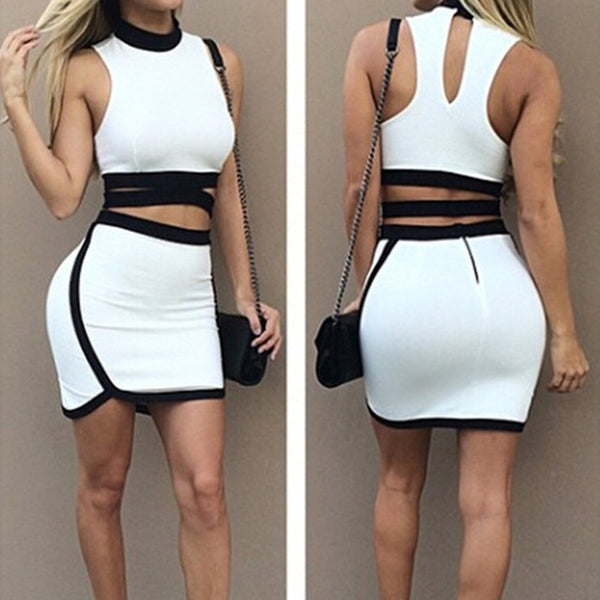 Sexy Bandage White Black Bodycon Dress - Ashlays - 1