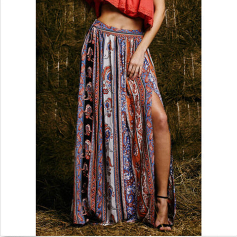 Bohemian Floral Print Fitted Long Skirt - Ashlays - 1