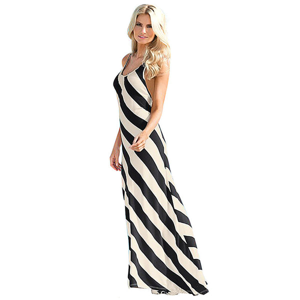 Sleeveless Spaghetti Strap Backless Long Beach Dress - Ashlays - 1