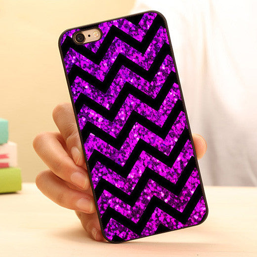 PURPLE BLUR SPARKLE CHEVRON Phone Case For iPhone 6 6 plus 5c 5s 5 4 4s - Ashlays - 1