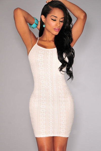 Off-White Nude Illusion Crochet Mini Dress - Ashlays - 3