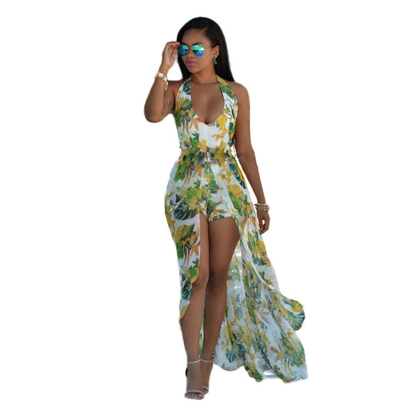 Sexy Backless Print Chiffon Maxi Dress - Ashlays - 2