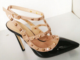 Sexy Pointed Toe Studded High Heels - Ashlays - 3