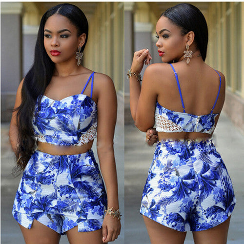 Lace Crop Top Short Set - Ashlays - 2