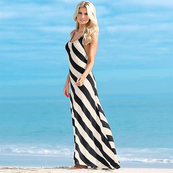 Sleeveless Spaghetti Strap Backless Long Beach Dress - Ashlays - 2