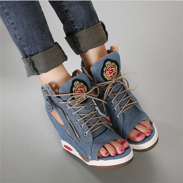 2015 Hot New Arrival European Style Summer Denim high fish mouth inside wedge leisure sports sandals high heels women's shoes QA - Ashlays - 2