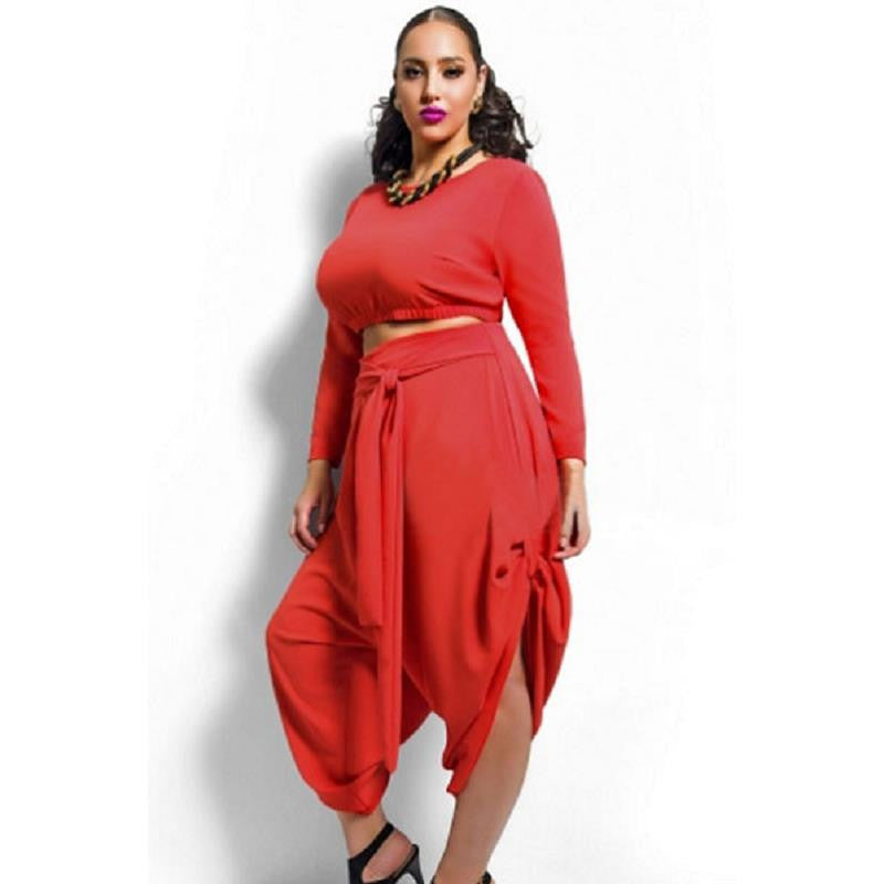 Plus Size Crop Top Draped Pants Set - Ashlays