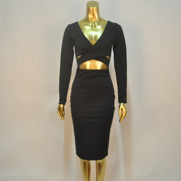 V-neck Bodycon Dress - Ashlays - 3