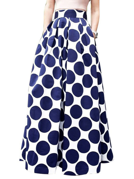 Navy Blue High Waist Polka Dots Print Maxi Skirt - Ashlays - 2