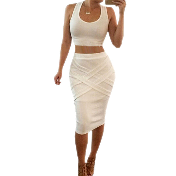 2-Piece Style Sexy Bandage Dress - Ashlays - 3