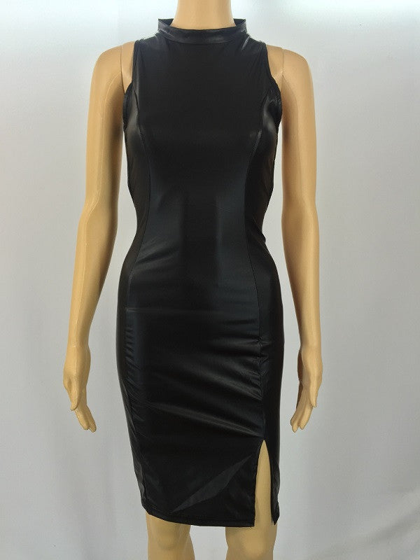 Faux Leather Bandage Midi Dress - Ashlays - 2