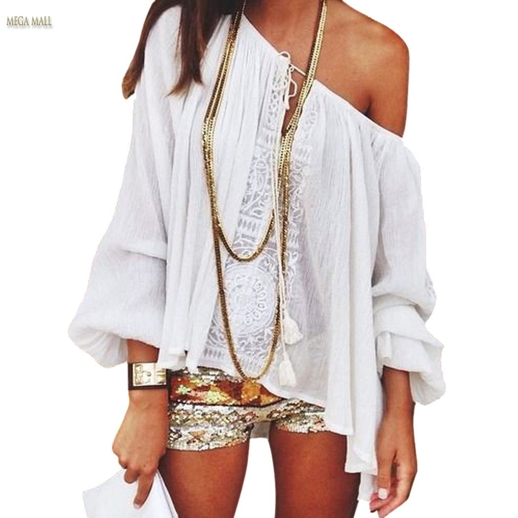 Long Sleeve Lace Crochet Loose Blouse - Ashlays