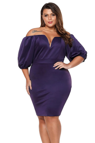 Plum Puff Sleeve Bodycon Dress