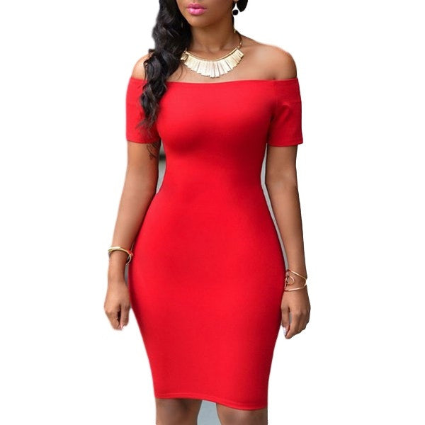 Off-The-Shoulder Short Sleeve Red Dress - Ashlays