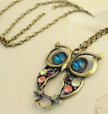 Retrol Owl Shape Colorful Rhinestone Necklace - Ashlays