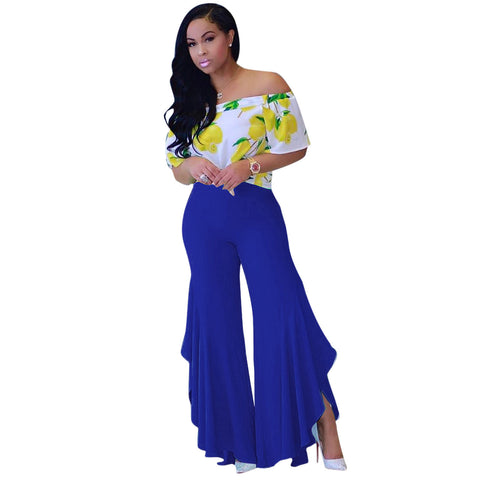 Casual Ruffle Wide Leg Pants
