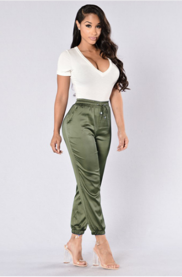 Casual Satin Drawstring Pants - Ashlays - 1