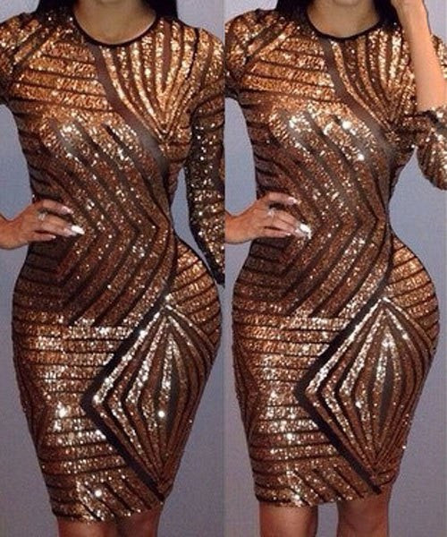 Sequined Spliced Women's Dress - Ashlays - 3