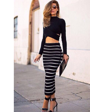 Turtleneck Long Sleeves Striped Black Polyester Two-piece Ankle Length Dress - Ashlays - 1