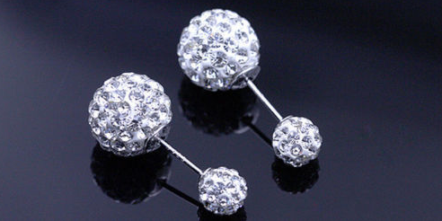 925 sterling Silver Double Crystal Ball Stud Earrings - Ashlays