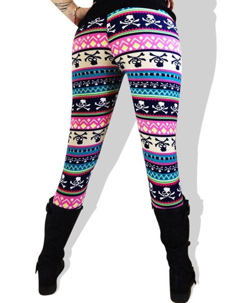 Skull Printed Multicolored Leggings - Ashlays