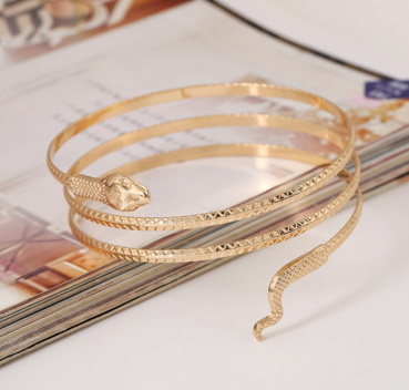 Snake Shaped Gold Metal Bracelet - Ashlays - 2