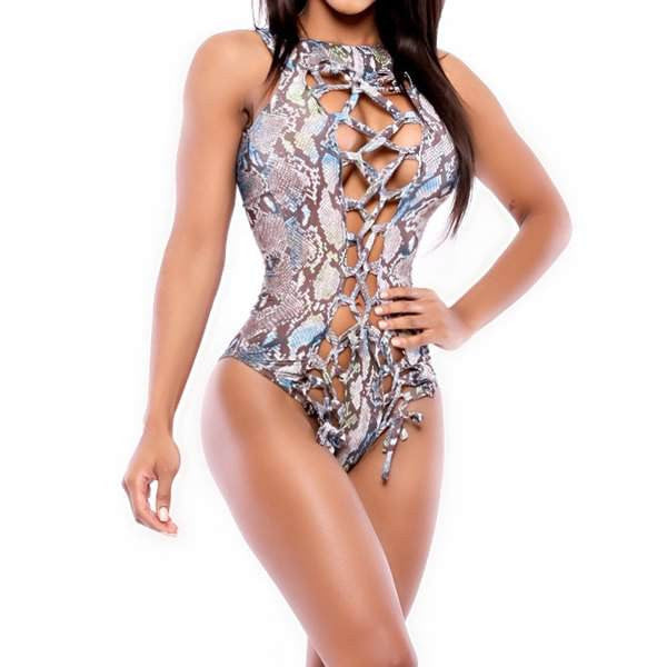 Snake Print One-Piece Swimsuit For Women - Ashlays