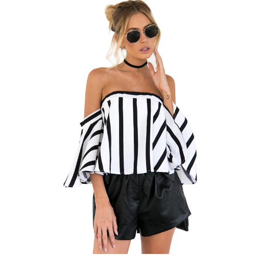 Stripe Off Shoulder Flare Sleeve Chiffon Top