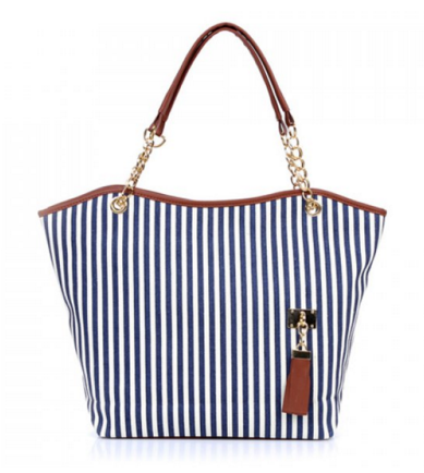 Canvas Striped Tote Bag - Ashlays - 1