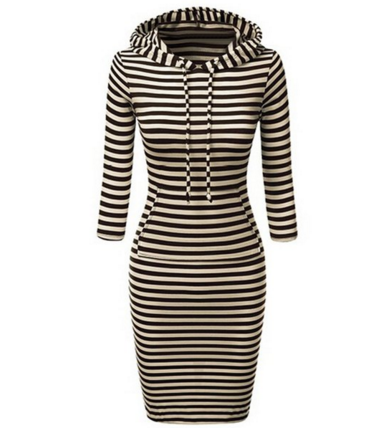 Striped Hooded Bodycon Dress For Women - Ashlays