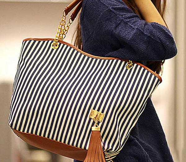 Canvas Striped Tote Bag - Ashlays - 2