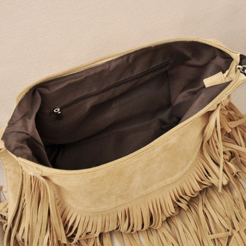 Suede and Fringe Design Crossbody Bag - Ashlays - 2