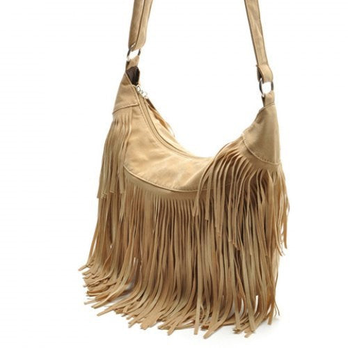 Suede and Fringe Design Crossbody Bag - Ashlays - 3