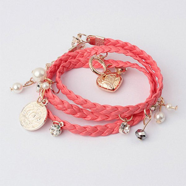 Sweet Heart Pendant Rope Weaved Bracelet - Ashlays