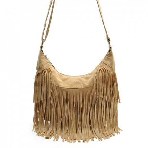 Suede and Fringe Design Crossbody Bag - Ashlays - 1