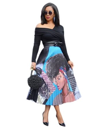 Vintage Cartoon Print Pleated Skirt